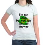 Not Irish Kiss Me Hat Jr. Ringer T-Shirt