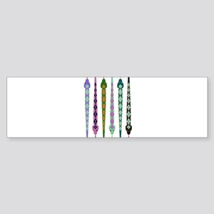 Colorful Line of Cut Paper Snakes Bumper Sticker