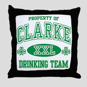 Clarke Irish Drinking Team Throw Pillow