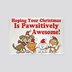 Dogs & Cats Pawsitively Awesome Christmas Rectangl