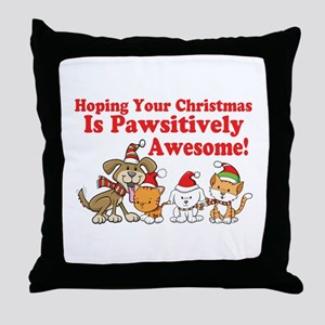 Dogs & Cats Pawsitively Awesome Christmas Throw Pi