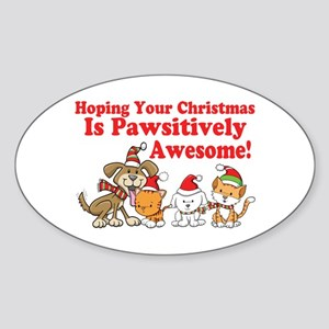 Dogs & Cats Pawsitively Awesome Christmas Sticker