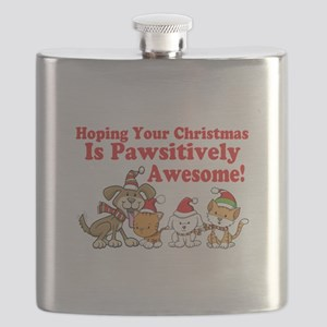 Dogs & Cats Pawsitively Awesome Christmas Flask