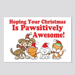 Dogs & Cats Pawsitively Awesome Christmas Postcard