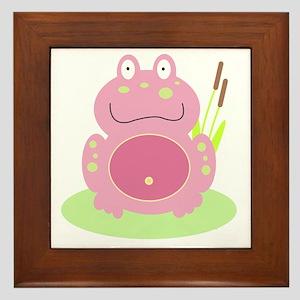 Fiona the Pink Frog Framed Tile
