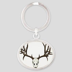 Buck deer skull Oval Keychain