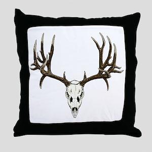 Buck deer skull Throw Pillow