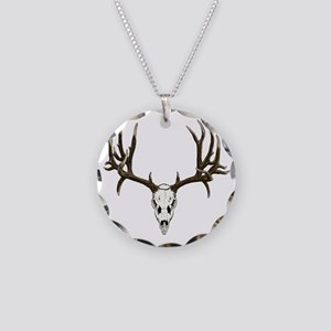 Buck deer skull Necklace Circle Charm