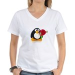 Clay Penguin with Rose Women's V-Neck T-Shirt