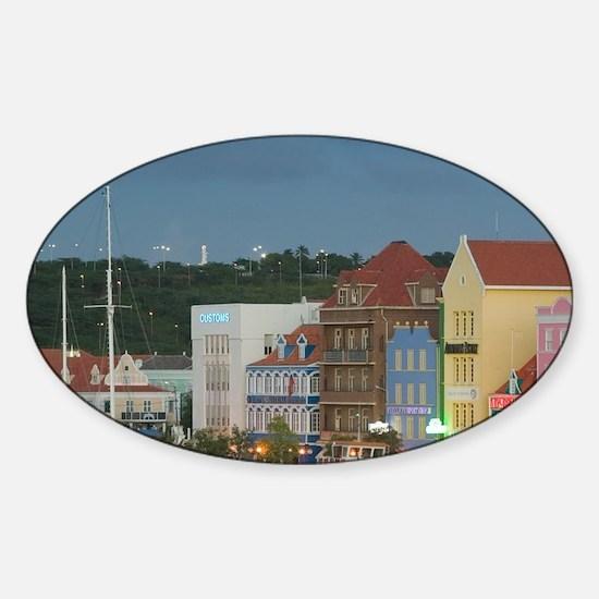 Waterfront Buildings / Eveningad: P Sticker (Oval)