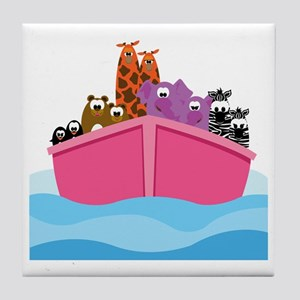 out_at_sea_pink3 Tile Coaster