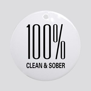 100 Percent Clean and Sober Ornament (Round)