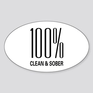 100 Percent Clean and Sober Oval Sticker