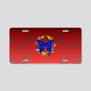 Butterfly Wreath Aluminum License Plate