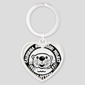 Otters, on black Heart Keychain