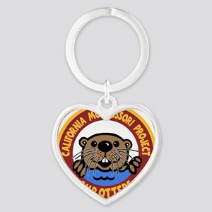 Otters, color on black Heart Keychain