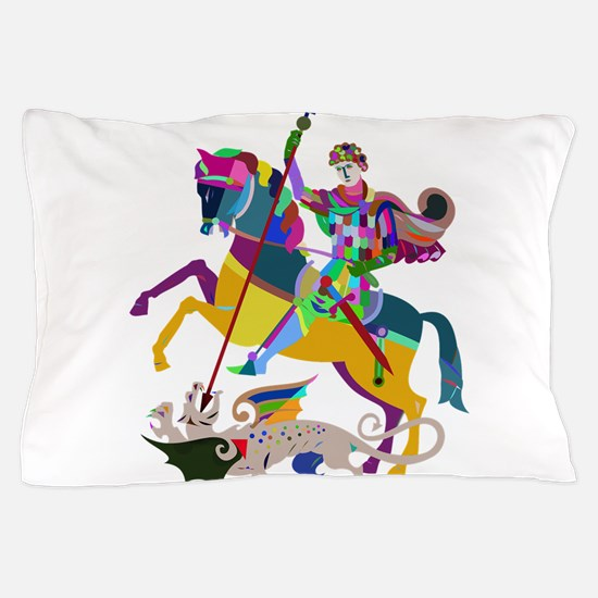 Fantasy Knight Slaying Dragon Pillow Case