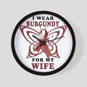 I Wear Burgundy for my Wife Wall Clock