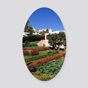 Pastel architecture and colorful g Oval Car Magnet