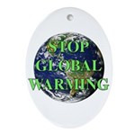 Stop Global Warming Oval Ornament