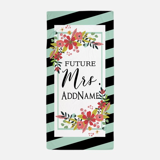 Future Mrs Floral Stripes Personalized Beach Towel