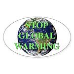Stop Global Warming Oval Sticker