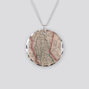 Vintage Map of Northern Cali Necklace Circle Charm