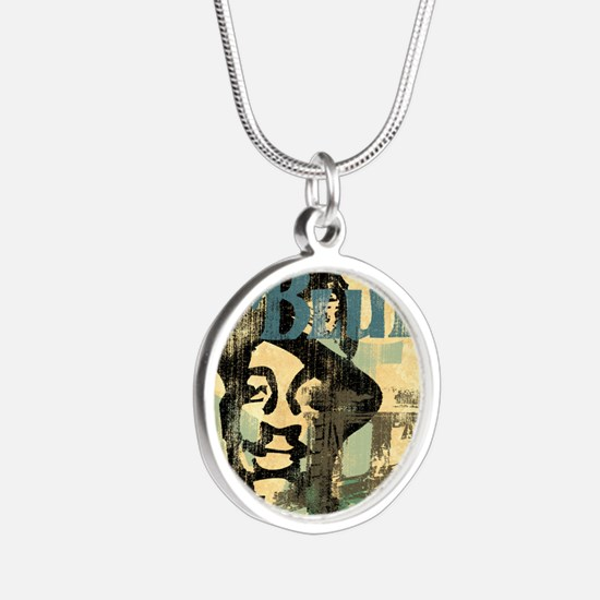 jazzin the blues framed pane Silver Round Necklace