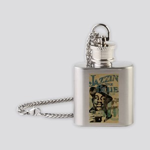 jazzin the blues framed panel print Flask Necklace