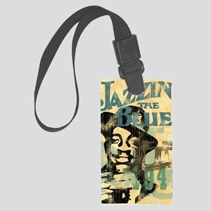 jazzin the blues framed panel pr Large Luggage Tag