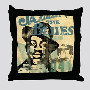jazzin the blues framed panel print c Throw Pillow