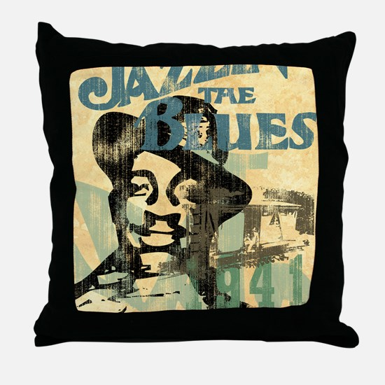 jazzin the blues framed panel print c Throw Pillow