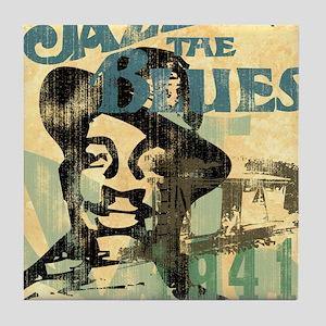 jazzin the blues framed panel print c Tile Coaster