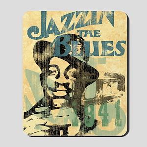 jazzin the blues framed panel print copy Mousepad
