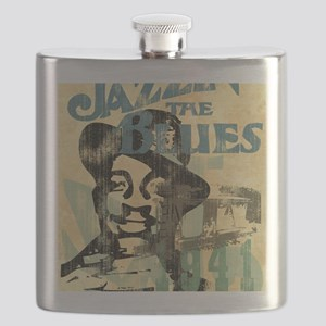 jazzin the blues framed panel print copy Flask