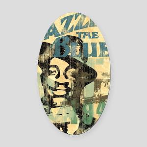 jazzin the blues framed panel prin Oval Car Magnet