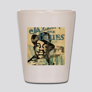 jazzin the blues framed panel print cop Shot Glass