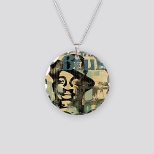 jazzin the blues framed pane Necklace Circle Charm