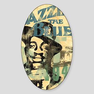 jazzin the blues framed panel print Sticker (Oval)