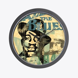 jazzin the blues framed panel print cop Wall Clock