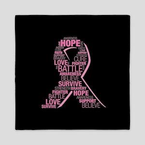 Breast Cancer Awareness Ribbon Word Cl Queen Duvet