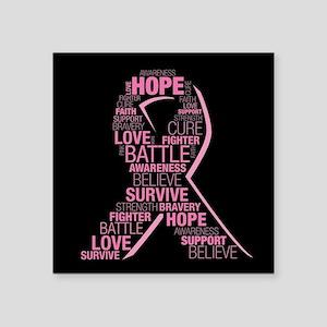 "Breast Cancer Awareness Rib Square Sticker 3"" x 3"""