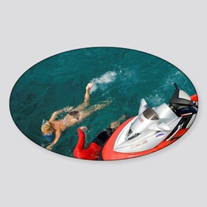 Swimming near the cement ship wreck Sticker (Oval)