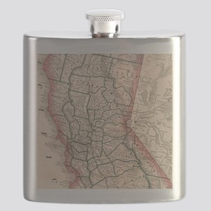 Vintage Map of Northern California (1883) Flask