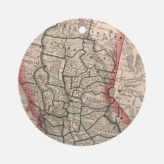 Vintage Map of Northern California Round Ornament
