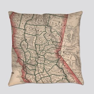 Vintage Map of Northern California Everyday Pillow