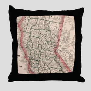 Vintage Map of Northern California (1 Throw Pillow