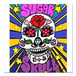 Sugar Skull Square Car Magnet 3