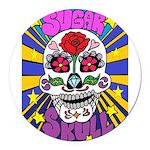 Sugar Skull Round Car Magnet