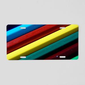 rainbow-crayons Aluminum License Plate